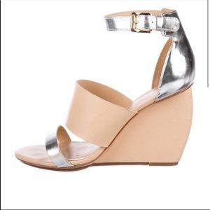 REBECCA MINKOFF Stella Wedge Sandal Heels Open Toe Peep Toe Tan Silver 10.5